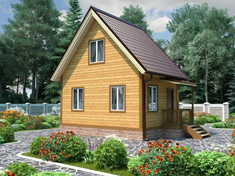 Каркасный дачный дом 1.5э 6х4м двух