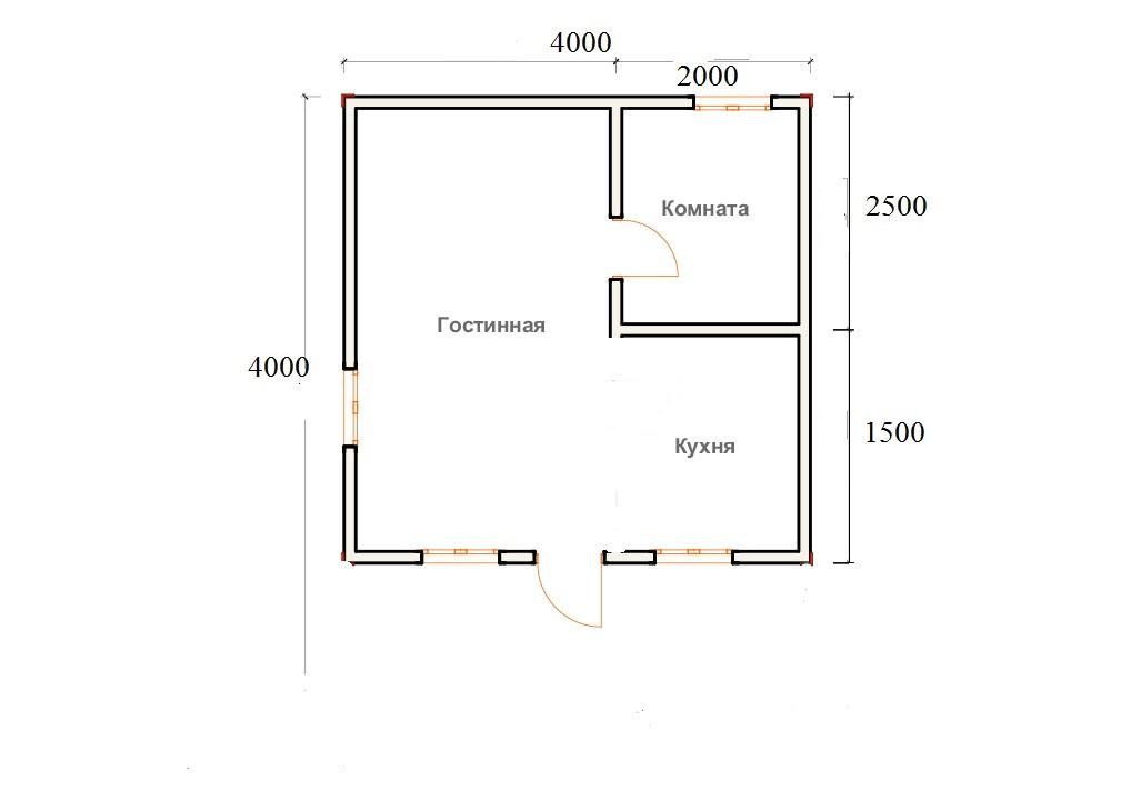 Каркасный дачный дом 1э 4х4м