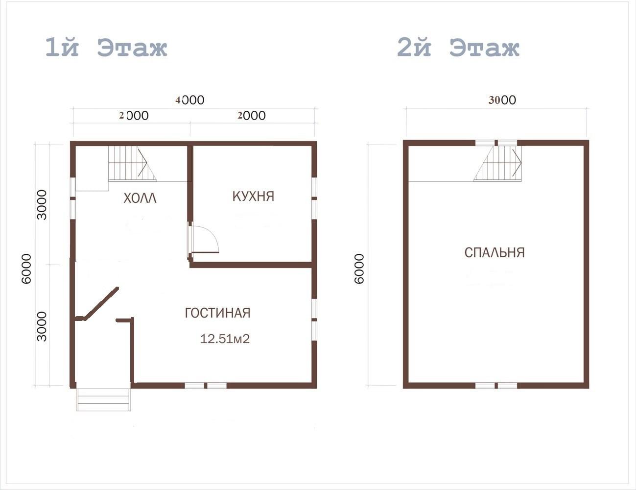 Каркасный дачный дом 1.5э 6х4м ломан