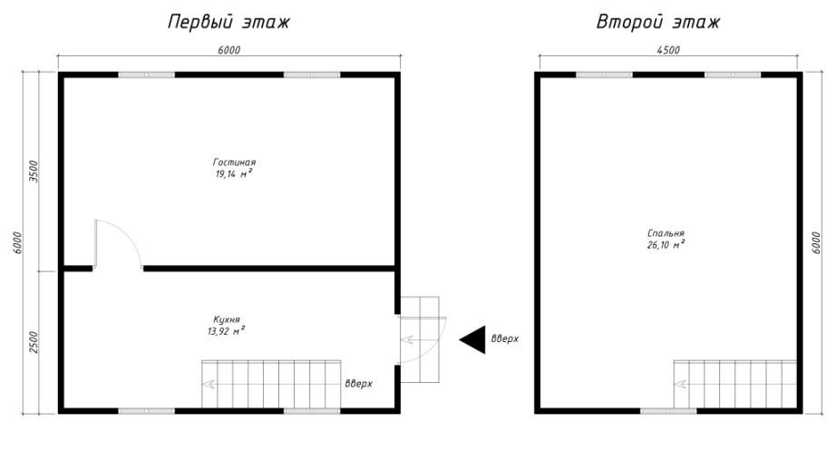 Каркасный дачный дом 1.5э 6х6м ломан