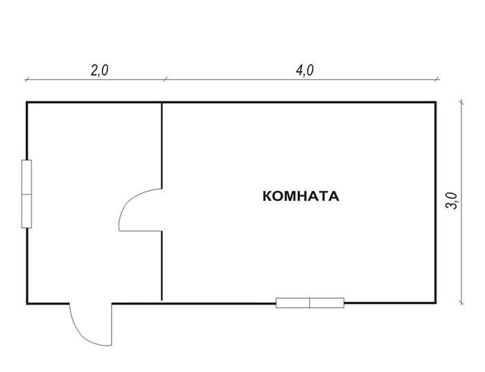 Каркасный дачный дом 1э 6х3м