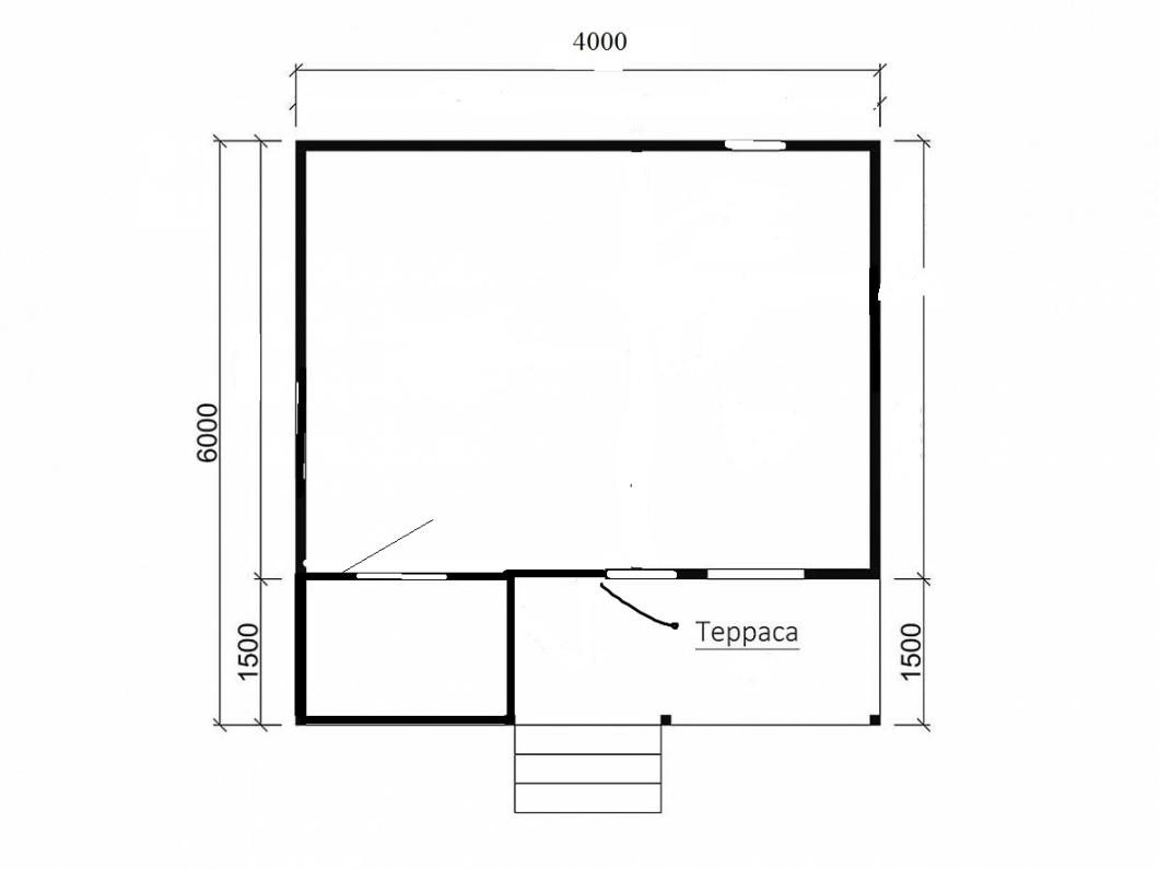 Каркасный дачный дом 1э 6х4м