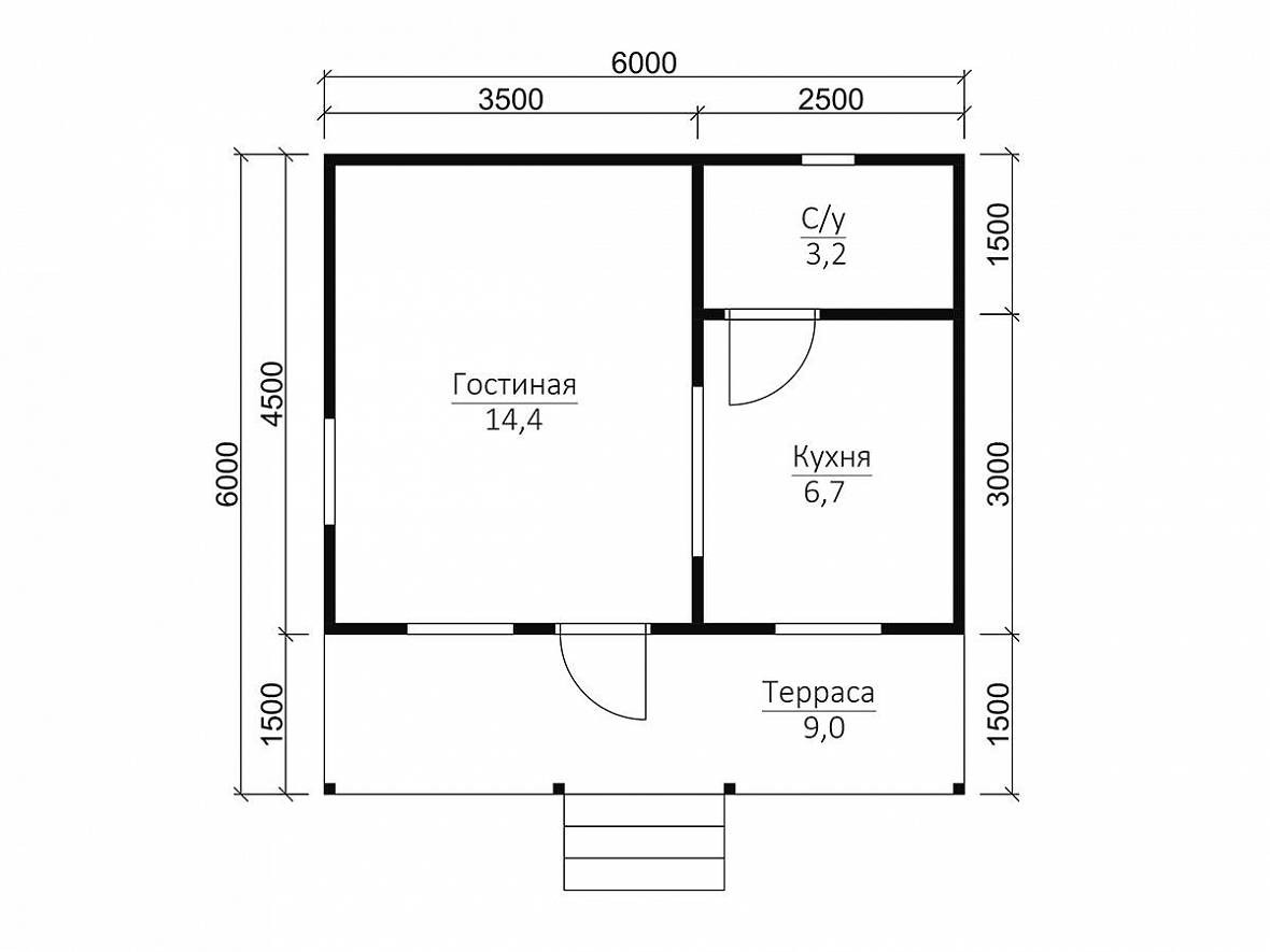 Каркасный дачный дом 1э 6х6м