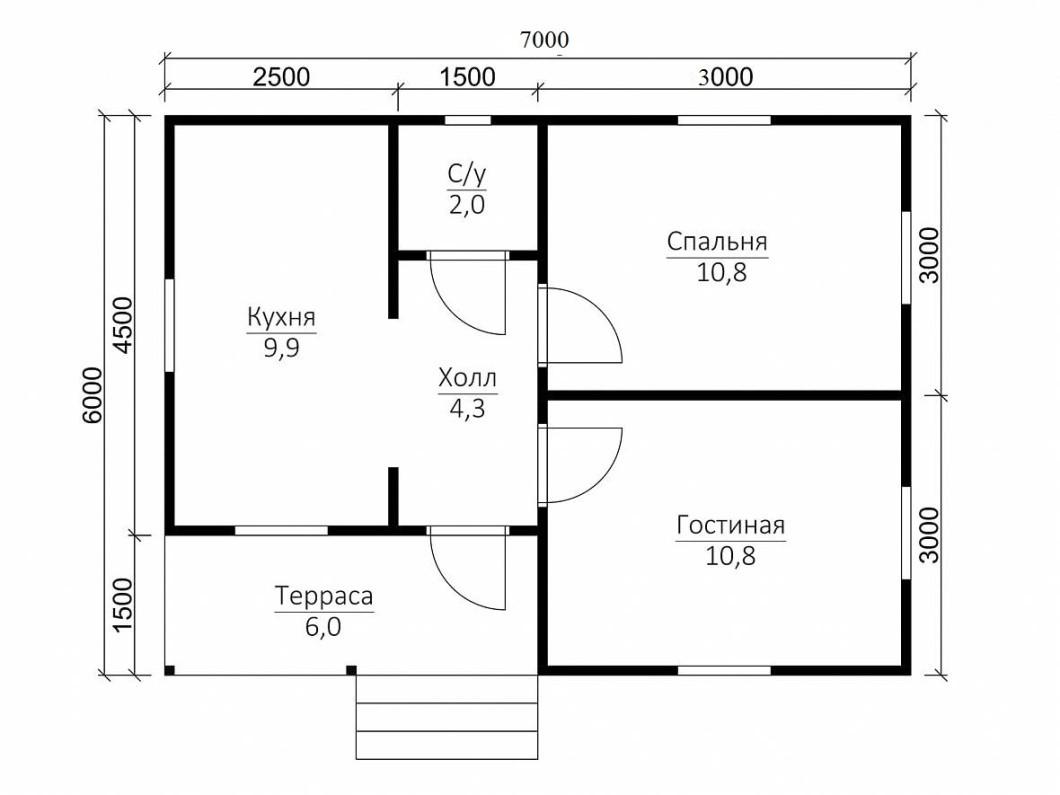 Каркасный дачный дом 1э 6х7м