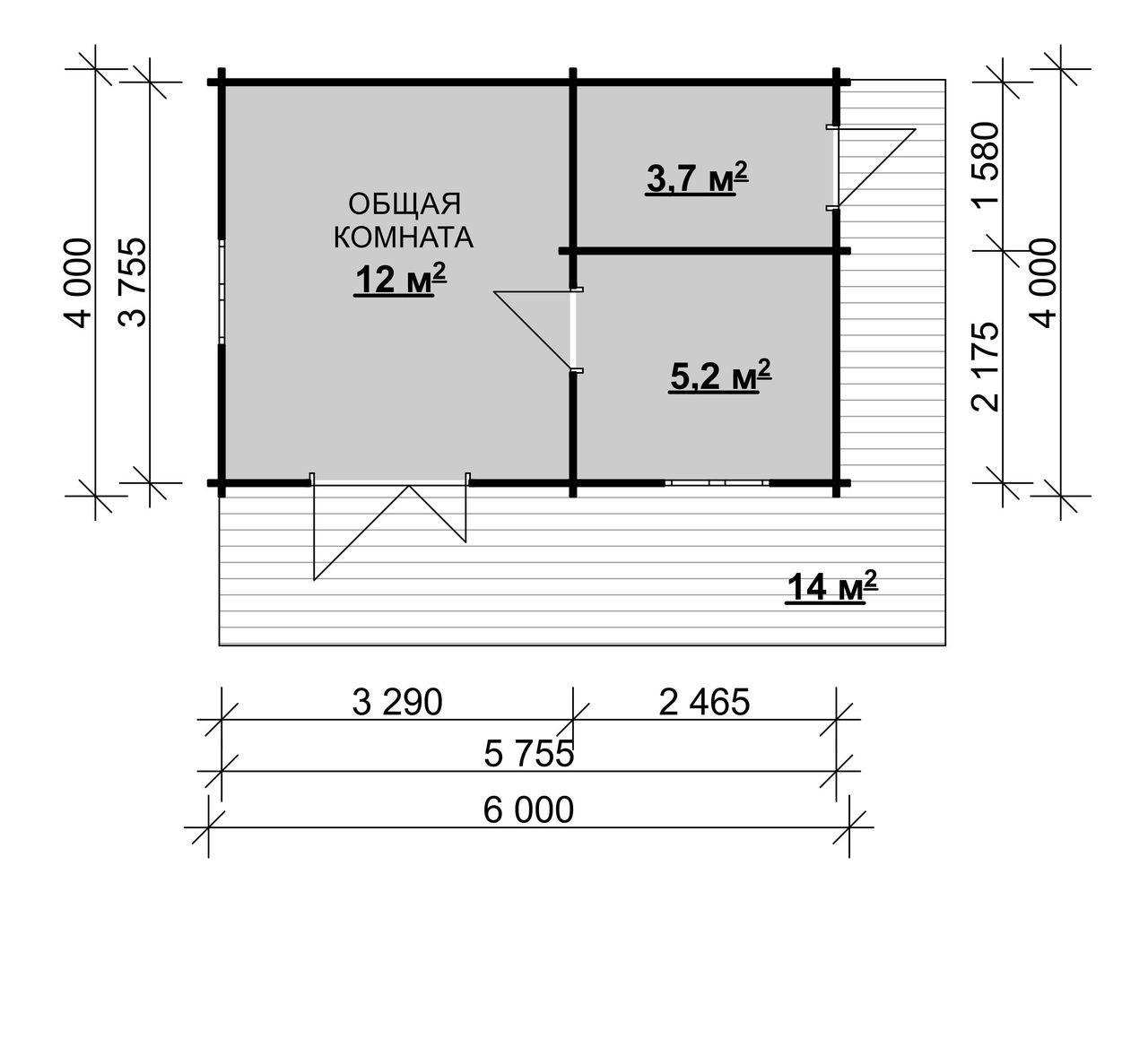Садовый домик 6.0 х 4.0 м