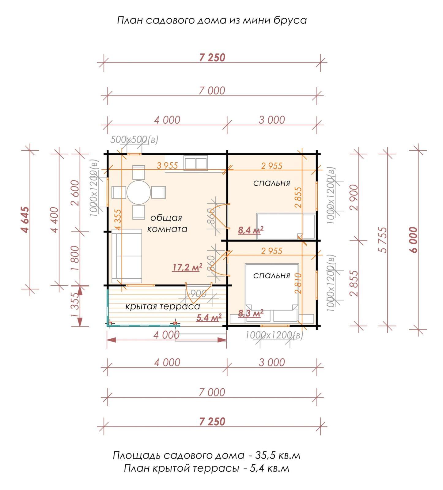 Садовый домик 7.2 х 6 м